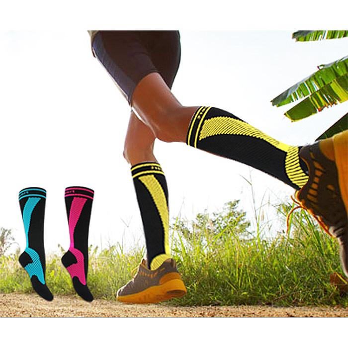 美肌刻 Magic sport, 雙條紋貼紮半統運動襪(MIT 亮黃色,亮藍色,亮桃紅色)