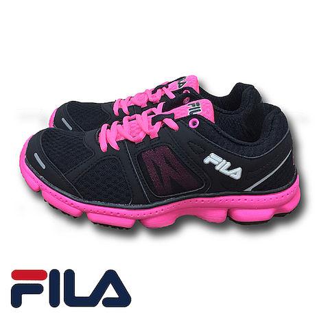 FILA - FLASH 菱格網眼布慢跑鞋 (女) 5-J303P-020 黑螢粉(預購)