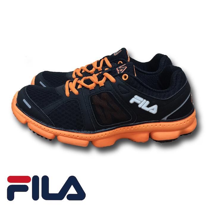 FILA - FLASH 菱格網眼布慢跑鞋 (男) 1-J303P-060 黑橘(預購)