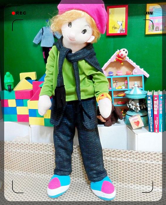 ↖大圓衣兒↗ 韓版英倫氣質造型保暖棉童褲 / 附披肩
