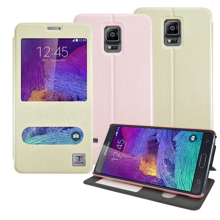 【Metal-slim】Samsung Galaxy Note4 APP智能雙視窗側翻站立皮套