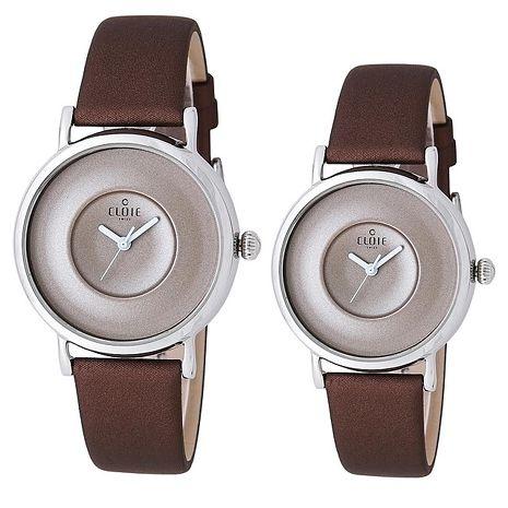 優雅簡約素面男女對錶-咖啡x銀框 CL10115-KA11男款 / CL10125-KA11 女款