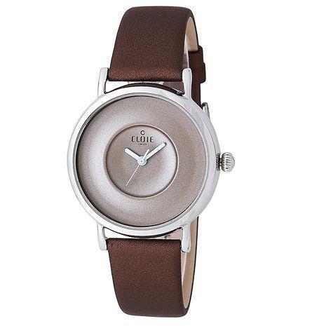 簡約素面腕錶-咖啡x銀框 男錶 CL10115-KA11