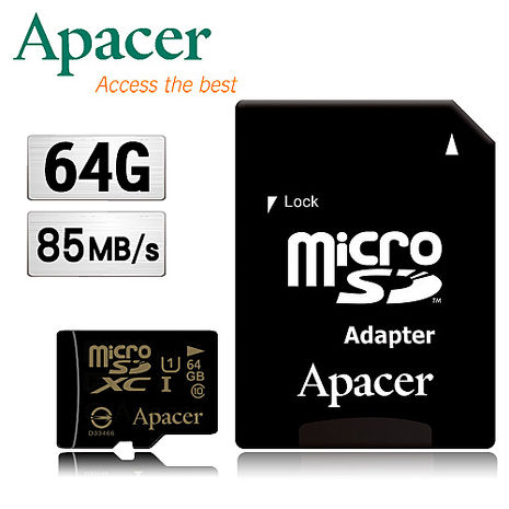 Apacer宇瞻 64GB MicroSDHC UHS-I Class10記憶卡(85MB/s)