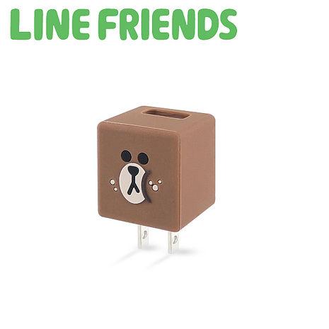 LINE FRIENDS 立體 QQ 1A 輕巧USB充電器-貪吃熊大 (LN-CR04B)