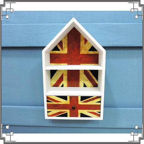 【妙妙家居】↙特價 ↘ 洗白屋型置物櫃《WH1》英國國旗木製壁櫃 兩用收納櫃 桌上型置物櫃 居家布置