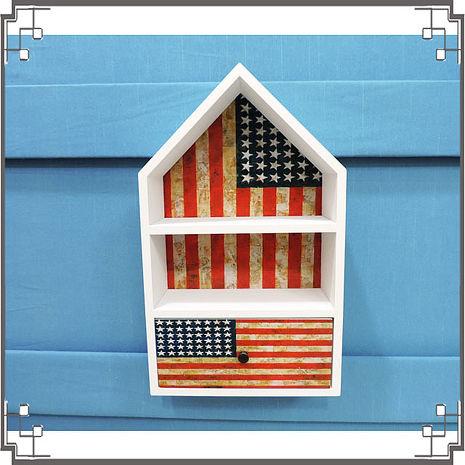 【妙妙家居】↙特價 ↘ 洗白屋型置物櫃《WH2》美國國旗木製壁櫃 兩用收納櫃 桌上型置物櫃 居家布置