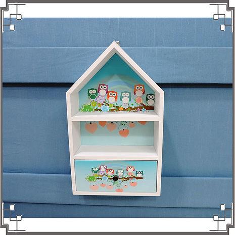 【妙妙家居】↙特價 ↘ 洗白屋型置物櫃《WH5》貓頭鷹木製壁櫃 兩用收納櫃 桌上型置物櫃 居家布置 送禮