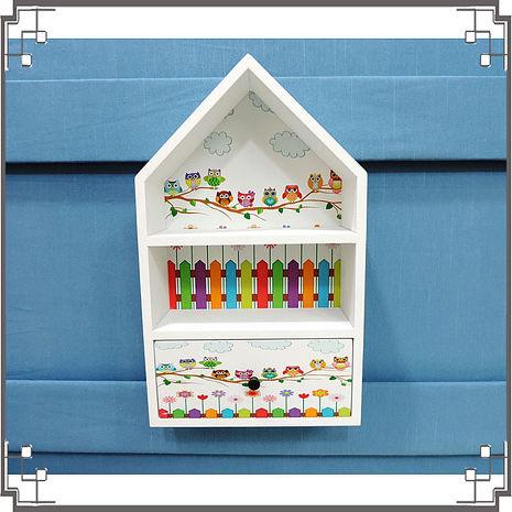 【妙妙家居】↙特價 ↘ 洗白屋型置物櫃《WH6》貓頭鷹木製壁櫃 兩用收納櫃 桌上型置物櫃 居家布置 送禮