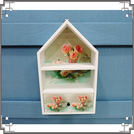 【妙妙家居】↙特價 ↘ 洗白屋型置物櫃《WH9》粉嫩玫瑰木製壁櫃 兩用收納櫃 桌上型置物櫃 居家布置