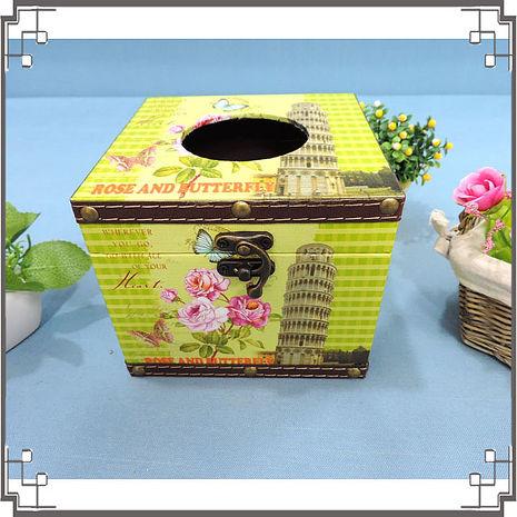 【妙妙家居】木製帆布方形面紙盒《PC15》比薩斜塔木製紙巾盒 復古風 餐廳 民宿 居家布置