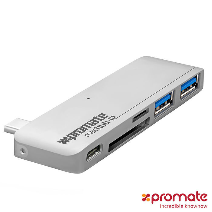 Promate USB 3.1 Type C Hub 高速充電傳輸集線器(銀色)