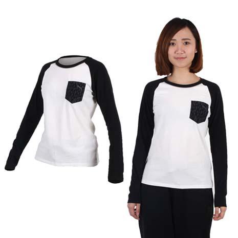【PUMA】女拼接袖薄長T恤-長袖T恤 休閒 慢跑 白黑