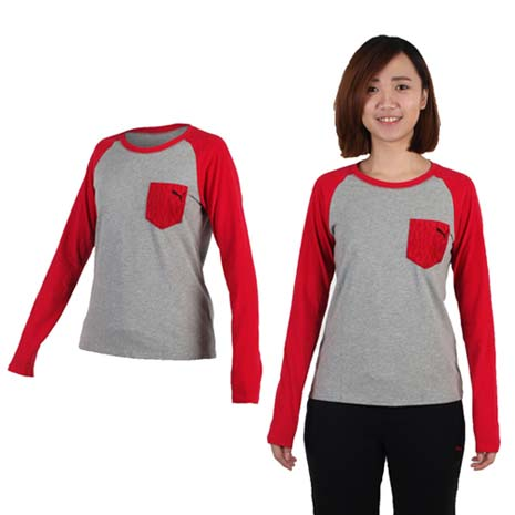 【PUMA】女拼接袖薄長T恤-長袖T恤 休閒 慢跑 灰紅