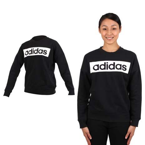 【ADIDAS】女長袖圓領衫-長T恤 大學T 刷毛 愛迪達 黑白