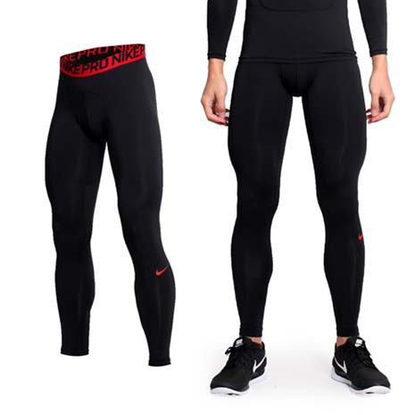 【NIKE】PRO COMBAT 男彈力緊身長褲-緊身褲 慢跑 路跑 重訓 黑紅