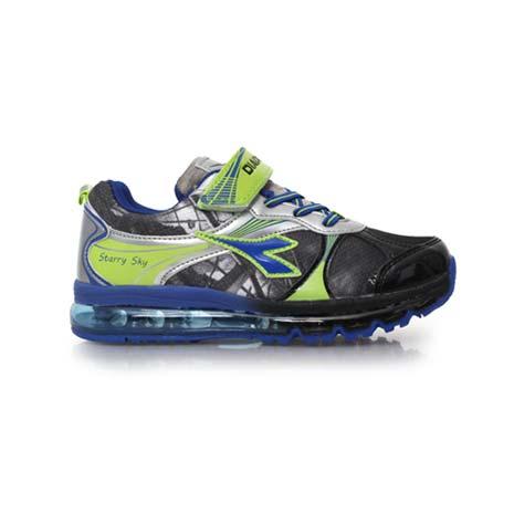 【DIADORA】男女中童氣墊慢跑鞋 -路跑 童鞋 男童鞋 女童鞋 黑銀藍
