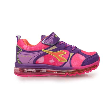 【DIADORA】男女中童氣墊慢跑鞋 -路跑 童鞋 男童鞋 女童鞋 紫粉紅