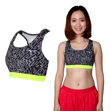 【MIZUNO】女運動內衣- 運動背心 BRA 路跑 慢跑 瑜珈 黑灰螢光綠