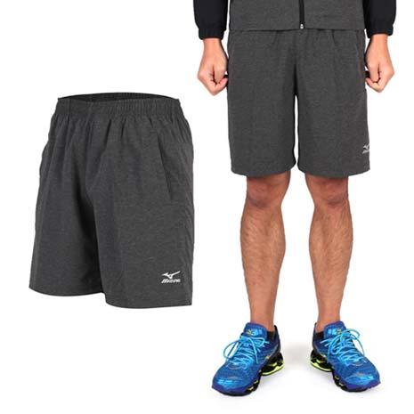 【MIZUNO】男平織短褲- 訓練 慢跑 路跑 風褲 休閒短褲 美津濃 碳灰