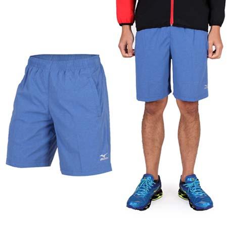 【MIZUNO】男平織短褲- 訓練 慢跑 路跑 風褲 休閒短褲 美津濃 藍銀