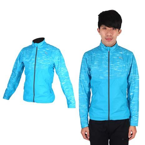 【PUMA】NIGHTCAT 男立領風衣外套- 防風 慢跑 路跑 運動 水藍銀