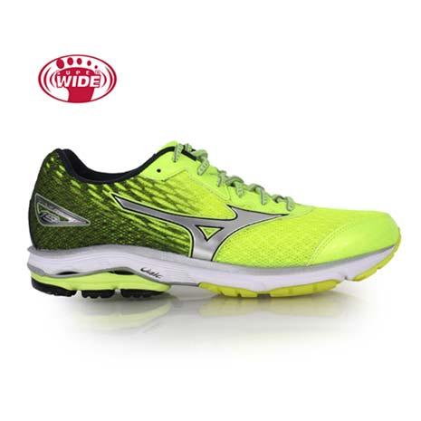 【MIZUNO】WAVE RIDER 19 男慢跑鞋-2E-寬楦 路跑 螢光黃黑