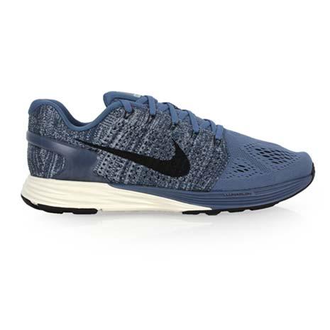 【NIKE】LUNARGLIDE 7 男慢跑鞋- 路跑 氣墊 編織 訓練 健身 藍灰黑