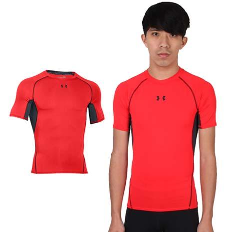 【UNDER ARMOUR】UA HG ARMOUR男短袖T恤 紅黑