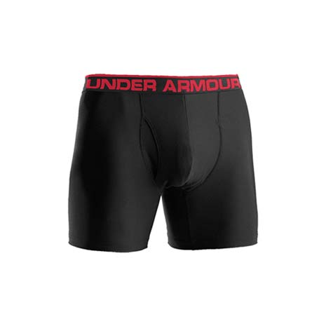【UNDER ARMOUR】UA 男用HG四角褲- 運動短褲 黑紅