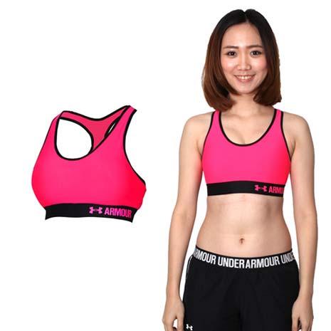 【UNDER ARMOUR】HG ARMOUR 女中衝擊運動內衣-運動背心 桃紅黑