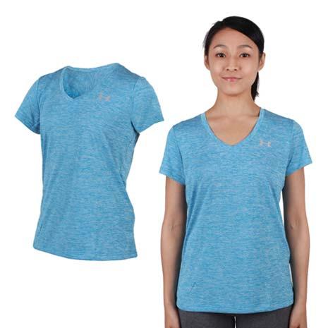 【UNDER ARMOUR】HG TECH TWIST 女V領短袖T恤 藍淺灰