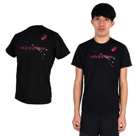 【ASICS】男印花短袖T恤- 田徑 慢跑 路跑 漢字T 亞瑟士 黑桃紅芥末綠