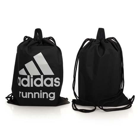 【ADIDAS】健身束口袋-後背包 雙肩包 鞋袋 愛迪達 黑灰