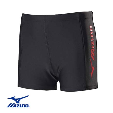 【MIZUNO】FITNESS 男童泳褲-兒童  游泳 競賽 美津濃 黑桃紅