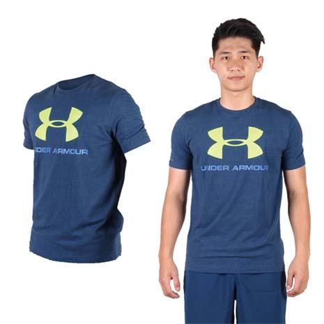 UNDER ARMOURUA HG LOGO男短袖T恤-路跑休閒深藍螢光綠