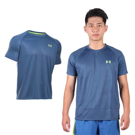 UNDER ARMOURUA HG男花色短袖T恤-路跑慢跑深藍螢光綠