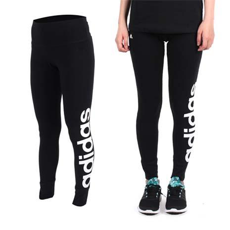 【ADIDAS】女緊身長褲-愛迪達 內搭褲 慢跑 路跑 瑜珈 運動 休閒 黑白