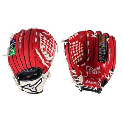 【MIZUNO】少年用手套-右投 壘球手套 棒球 美津濃 紅米白