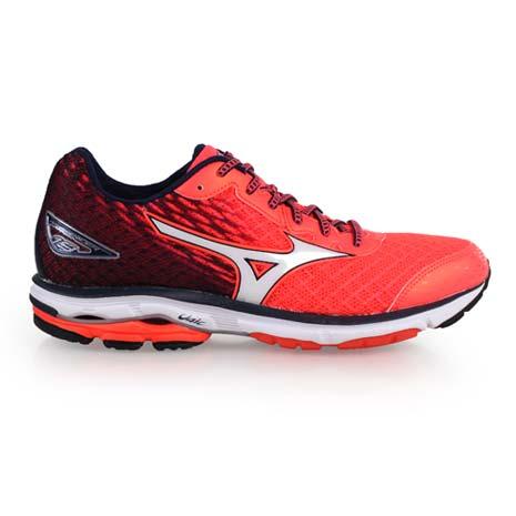 【MIZUNO】WAVE RIDER 19 男慢跑鞋-慢跑 路跑 亮橘白丈青