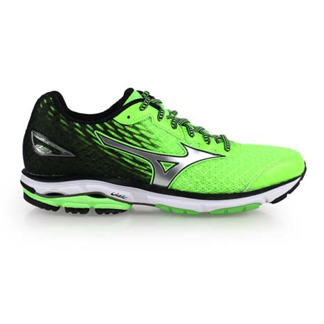 【MIZUNO】WAVE RIDER 19 男慢跑鞋-慢跑 路跑 螢光綠黑