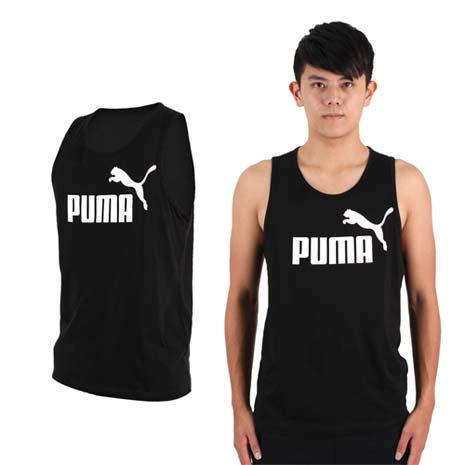 【PUMA】男LOGO休閒背心-路跑  健身 訓練 黑白
