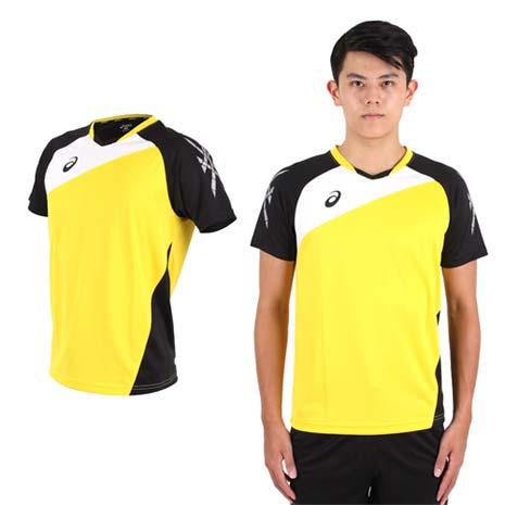 【ASICS】男運動排汗短T恤 -慢跑 羽球 排球 黃黑