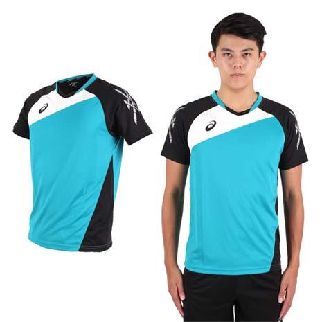 【ASICS】男運動排汗短T恤 -慢跑 羽球 排球 湖水綠黑