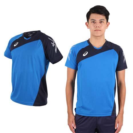 【ASICS】男運動排汗短T恤 -慢跑 羽球 排球 藍丈青
