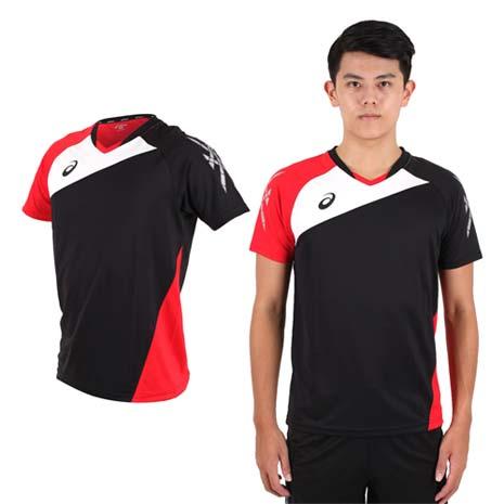 【ASICS】男運動排汗短T恤 -慢跑 羽球 排球 黑紅白