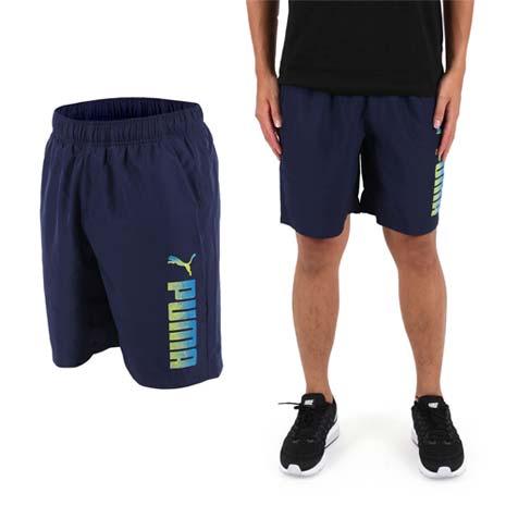 【PUMA】REBEL男 8吋短褲-慢跑 路跑 五分褲 丈青藍黃
