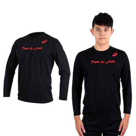 【ASICS】男長袖印花T恤- 慢跑 路跑 亞瑟士 黑紅