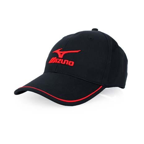 【MIZUNO】運動棉帽-帽子 防曬 慢跑 路跑 美津濃 黑紅