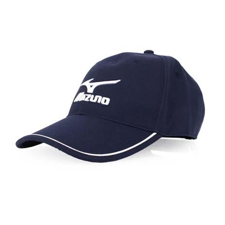 【MIZUNO】運動棉帽-帽子 防曬 慢跑 路跑 美津濃 丈青白